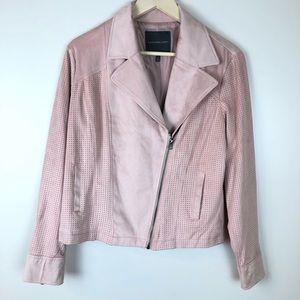 Kate & Mallory blush pink faux suede moto jacket L